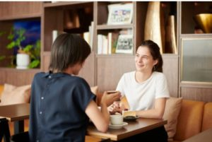 Private Japanese student lesson picture at cafe