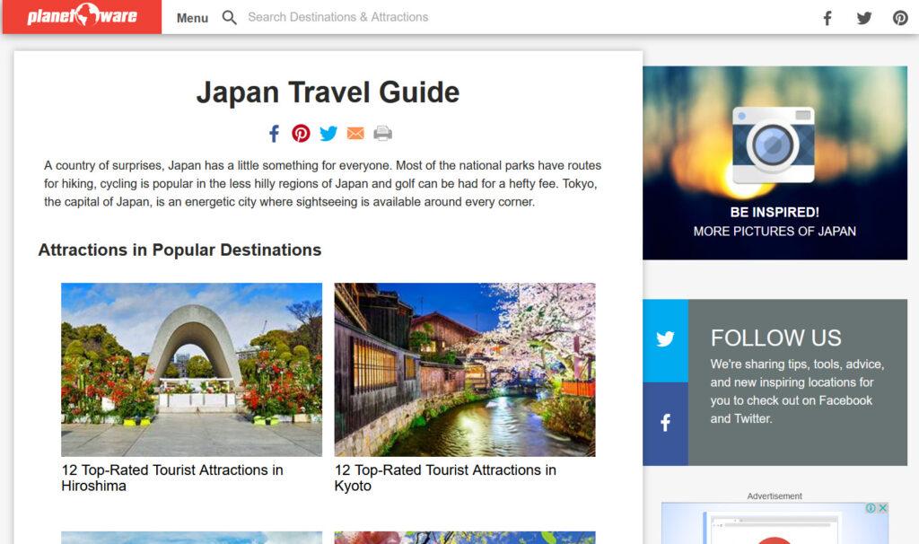 japan travel guide web